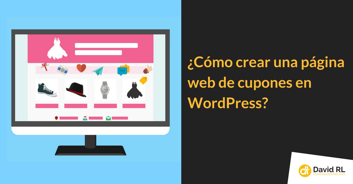como crear página cupones wordpress