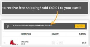 aviso envio gratis tienda online